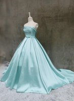 Wholesale Strapless Chiffon Long Bow - real photos sky blue satin strapless long prom dresses ball gowns 2017 new design hot custom bow sashes evening dress pleat lace up