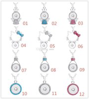Fashion Women NOOSA Collier Snap Button Charm Pendant Crystal Collier Snaps Jewelry Avec 361L En acier inoxydable Chain