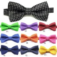 Wholesale Bowties Children - New kids Bowties Children ties bow ties 17 colors boys girls bow tie pure color bowtie Stars Check Polka Dot Stripes Free shipping