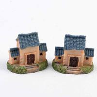 Wholesale Roofing Material Tile - Three Tile Roofed House Home Decor House Model DIY Material Moss Terrarium Micro Landscape Succulents Ornaments Fairy Garden Figurine Zakka