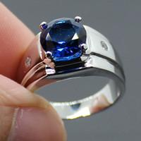 anéis artesanais grátis venda por atacado-Tamanho 9/10/11 COOL Mens Handmade Aço Inoxidável Rodada Sapphire Banda Anel Frete Grátis