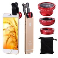 50set / lot Universal 3 em 1 Clip On FishEye kit Lens Macro Wide Angle para o iPhone Cell Phone