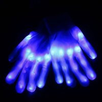 Wholesale Halloween Plastic Skeleton - Amazming light show Blue Color LED Skeleton Gloves Rave Light Finger Lighting Flashing Glow Mittens Novelty Toy Halloween Christmas Gift