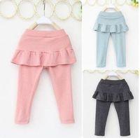 Wholesale 4t Pencil Skirts - Kids girls skirt-pants 2016 new spring autumn children clothing trousers kids cute long girls ruffle pants cotton100%
