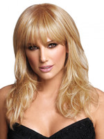 Wholesale Long Straight Layered Wigs - Blonde long layered wigs with fringe natural straight girls hairstyle Heat Resistant synthetic hair wig for Women perruque femme