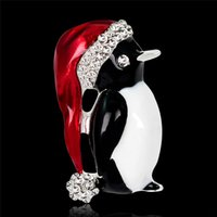 Wholesale Penguin Ornaments - Series of Christmas Ornaments Europe and the United States the New Brooch Cute Little Penguin Corsage Accessories