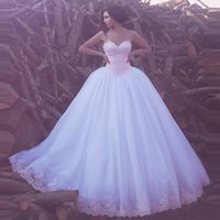 online shopping Ball Gown Wedding Dress - 2017 New Elegant Sweetheart Appliques Tulle Ball Gown Wedding Dresses Arabic Sweep Train Lace Wedding Bridal Gowns Custom Made