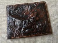 Wholesale Dragon Card Holder - Luxury Brand Vintage Fashion 3D Dragon 100% Genuine Leather Cowhide Men Mens Short Bifold Wallet Wallets Purse Card Holder Man