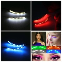 Wholesale led eyelashes wholesale - LED Eyelashes Lashes Interactive Pupular Glowing Eyelashes Waterproof for Dance Concert Christmas Halloween Nightclub Party