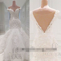 Wholesale Gold Designer Gown - Vestido De Noiva Lace Wedding Dresses 2016 Spring Designer New Crystal Pearls Embroidery For Church Wedding Party Dresses Bridal Gowns