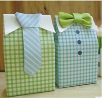 Wholesale Blue Treat Bags - 1000pair=2000pcs Little Man Blue Green Bow Tie Birthday Boy Baby Shower Favor Candy Treat Bag Wedding Favors Candy Box Gift Bags