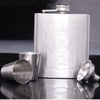 Wholesale Gift Flasks - 4pcs Set (1pcs Hip Flask 1pcs Funnel 2pcs Cup) Portable Stainless Steel 7oz Hip Flask Flagon Whiskey Wine Pot Bottle Gift