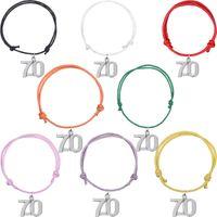 plaque d'immatriculation invisible achat en gros de-Multi couleurs pour le choix bracelets numéro série 70 argent plaqué pendentif cordon de cire bijoux appropriés pour cadeau