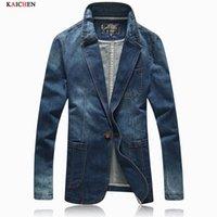 Wholesale Korean Mens Coats - Wholesale- Autumn Jacket Men 2016 Spring New Arrival Fashion Denim Blazer Men Korean Slim Fit Solid Mens Suit Outwear Coat Size M-XXXL