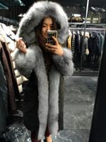 Wholesale Ladies Fur Coat Fox Collar - 2017 silver fox fur mon women down jackets lavish fox fur ladies down coats with fur trim