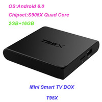 Wholesale Pandora Sold Wholesale - Hot selling android 6.0 TV BOX T95X S905X quad-core 2GB 16GB WIFI 4k2k H.265 Hardware Video Decode KD17.1 smart box