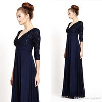 2016 Empire Vintage 3/4 lange Ärmel formale Abendkleider Navy Blue Lace Chiffon lange Mutter der Braut Kleider tiefe V Neck Party Dress