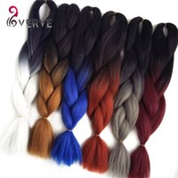 Wholesale High Temperature Fiber Hair Extensions - VERVES Ombre Kanekalon Braiding Hair 24 inch 100g piece Synthetic Two Tone High Temperature Fiber Kanekalon Jumbo Braid Hair Extension