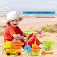 Wholesale Plastic Bucket Beach Toys - Newest Environmental ABS Beach Toys Car Bucket Spade Shovel Rake Pull Cart Children's Toys Sandy Beach Suit Baby tools