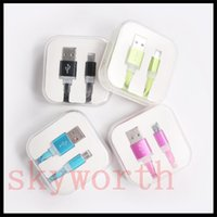 Wholesale Noodles Boxes - Candy Flat Noodle Micro USB Data Sync Cable Charging Cables Line Charger For Samsung Galaxy S7 S6 note5 HTC Sony with Crystal Box
