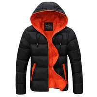 Wholesale duck candies resale online - Good Quality New Winter Men s Hooded Down Jackets Coat Casual Warm Thicken Duck Windproof Outcoats Candy Color Clothing