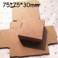 Wholesale Carton Shipping - Wholesale 7.5X7.5x3CM 50pcs lot Small Brown Kraft Paper Box Carton Packing boxes for GIft Wedding Candy Phone Accessories free shipping