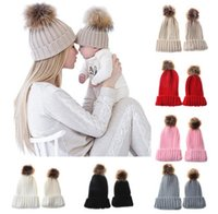 Wholesale Kid Ear Muffs Pink - Baby knit hat children faux fur pompon stripe knitting outdoor ear caps winter mommy and me warmer hat christmas kids accessoires R0697