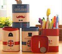 Wholesale Tin Piggy Banks - Wholesale-Free ship!1lot=8pc! The British style gentleman multi functional iron tin pen holder  pencil container  Piggy Bank