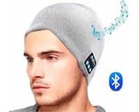 Wholesale Skulls Headphone - Bluetooth Music Hat Soft Warm Beanie Cap with Stereo Headphone Headset Speaker Wireless Microphone