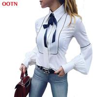 Wholesale Women Button Down Shirt White - New Office Blouses Women Lantern Sleeve White Tunic Button Down Shirts Female Elegant Formal Top 2017 Winter Autumn Necktie