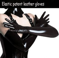 Wholesale Gloves Woman Leather Long - New fashion Sexy patent leather gloves glue tight long style sexy queen's seductive coating gloves Pole dancing bright leather gloves