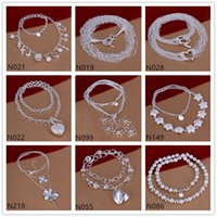 Wholesale Trinkets Sale - Trinkets flower shape 925 silver Necklace 6 pieces a lot mixed style,hot sale women's gemstone sterling silver Necklace EMP54