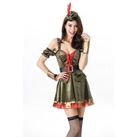 Wholesale Pirate Costume Design - New Design Sexy Pirate Costume 5 Pieces Halloween Cosplay Outfits Fantasia Flower Fairy Green Elf Costume for Women A415927
