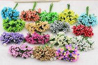 Wholesale Silk Flower Stems Red - Mulberry party Artificial Flower Stamen wire stem marriage leaves stamen wedding box decoration HJIA347