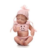 ingrosso set di bambole in silicone-Collezione 10 pollici Reborn Baby Doll Full Silicone Vinile Mini Neonati Bambole Con Set Bianco Regalo Di Compleanno Per Bambini Per Bambini