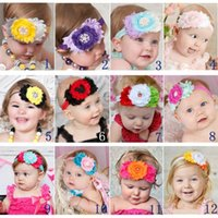 Wholesale Pearl Ornaments - Baby elastic headbands with flowers Pearls Rhinestones Girls Infant Hair Accessories Kids Children Hair Ornaments Head bands 12 colors KHA12
