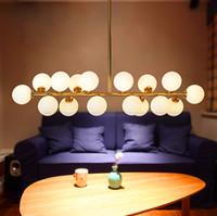 Wholesale Dna Pendant Light - Modo chandelier LED creative modo DNA pendant light 16 18 Globes glass lampshade chandelier LED lighting fixture ceiling lights