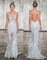 Wholesale Inbal Dror Beach Wedding - full embellishment elegant mermaid wedding dresses 2018 inbal dror fall bridal sleeveless deep v neck low open back sweep train