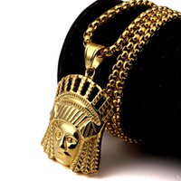 Wholesale Chief Pendant - 2016 New Fashion Steel Indian Chief Head Pendant Necklace With 27.56 Inch Chain For Men Women Hip Hop Punk Style Jewelry