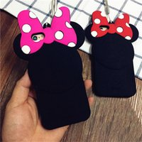 Micky Ear Cell Phone Cases Kawaii Bow Dots Pink Red Phone Covers pour iphone 6s 6plus 50