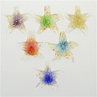 pingentes de vidro murano venda por atacado-Pingente de estrela do mar lampwork flor de vidro dentro de murano pingentes de vidro com colares moda barata jóias moda 12 pcs