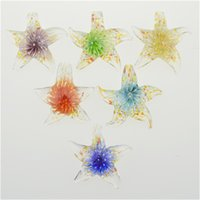 Wholesale Cheap Lampwork Pendants - Starfish pendant lampwork glass flower inside murano glass pendants with necklaces cheap fashion jewelry fashion 12pcs