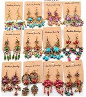 Wholesale Earrings Pc Mix - Vintage Bohemian hanging earrings 50 pcs lot mixed styles dangling earrings jewelry for her gifts for her