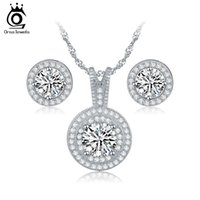 Wholesale Gifts Item China - Top Sale Items Combining Jewelry Sets for Wedding Round Shape Brillaint Zircon Necklace Earrings Luxury Brides Set OS77