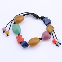 Wholesale Resin Christmas Bear - TL Hight Quality Stone Bear Bracelet Charm Adjustable Woven Bracelet For Women Jewelry Never Fade