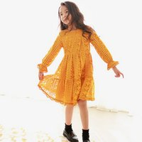 Wholesale Girls Lace Fitted Dress - Big girls dresses children falbala long sleee princess dress kids plaid hollow lace party dress fit 2-15T kids autumn clothes T0221