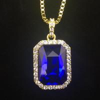 herren saphirglas großhandel-Neue Mens Bling Faux Lab Rubin Anhänger Halskette 24