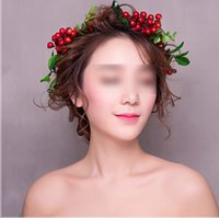 Wholesale Red Accesories - Bride wreath bohemia style Berries heads wedding headband children tree leaves rattan photography garlands girl beach hair accesories C2002