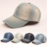 Wholesale Wholesale Cowboy Jeans - hot sale 2016 summer Vintage women cowboy baseball cap ladies snapback hats denim jeans leisure travel caps Sun hat 5 colors B796
