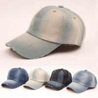 Wholesale Vintage Cowboy Hats - hot sale 2016 summer Vintage women cowboy baseball cap ladies snapback hats denim jeans leisure travel caps Sun hat 5 colors B796
